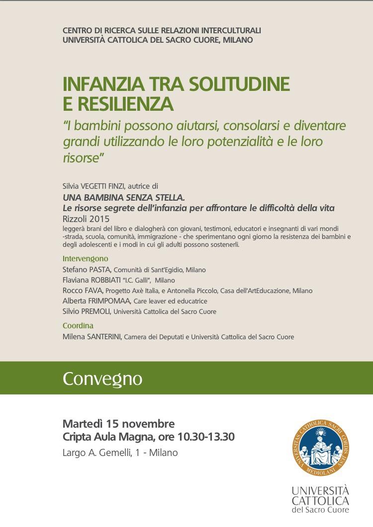 Milano-15 Novembre-convegno 'Infanzia fra solitudine e resilienza'