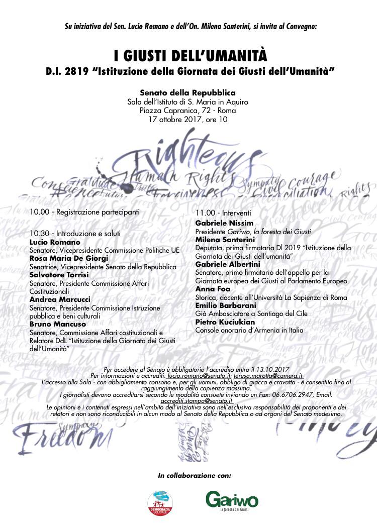 "Roma-17 ottobre: incontro ""I giusti dell'umanità"""