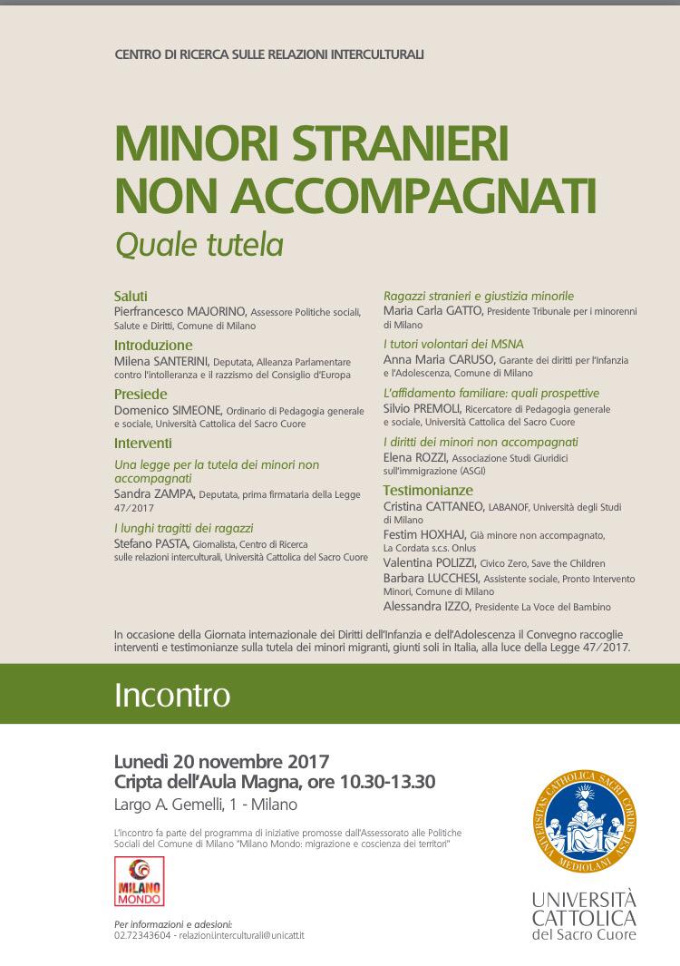 Milano-20 novembre 'Minori non accompagnati quale tutela'