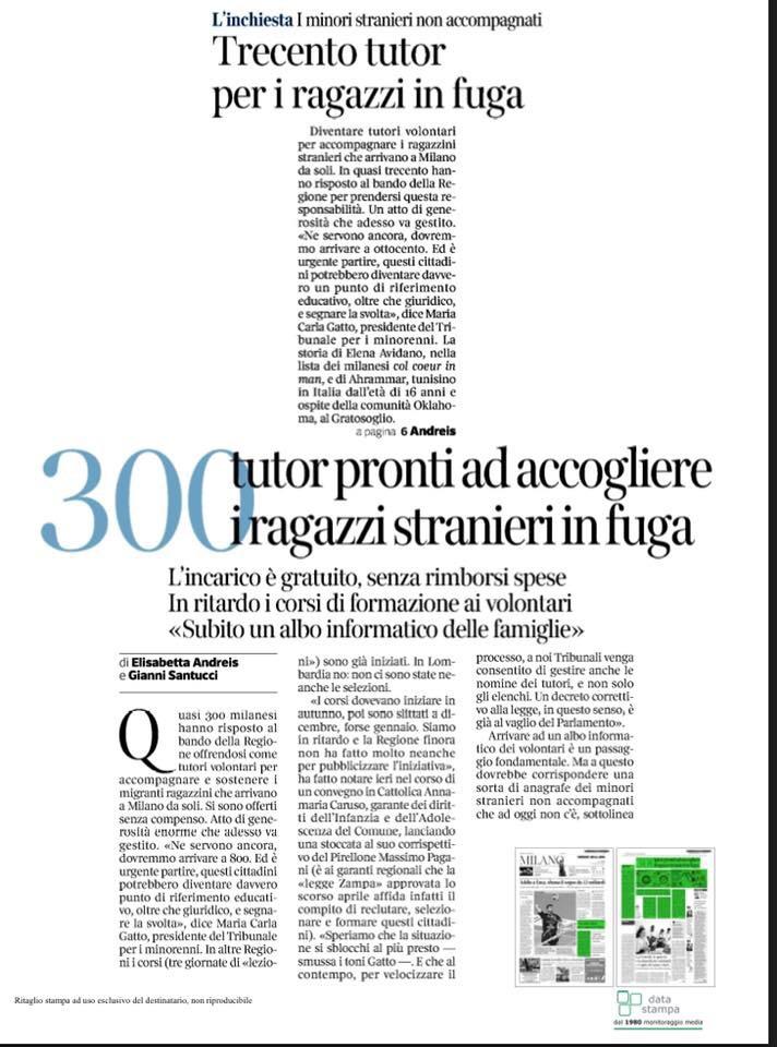 Corriere: '300 tutor per i ragazzi in fuga'