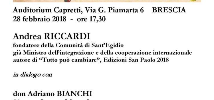 """Brescia-28 febbraio 2018, convegno:""""Paure e speranze del mondo globale"""""""