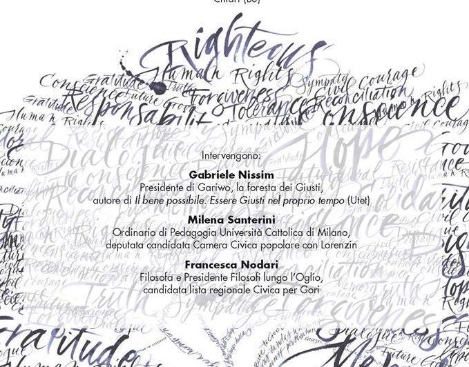 6 marzo, Santerini prima firmataria della legge che istituisce la Giornata nazionale in memoria dei Giusti dell'Umanità. Incontro 27 febbraio ore 20.45 a Chiari (BS)