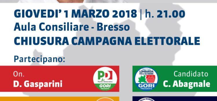 Bresso- 1 Marzo 2018 chiusura campagna elettorale.